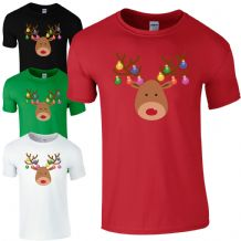 Christmas Baubles Rudolph Reindeer Face T-Shirt - Xmas Decorations Kids Mens Top